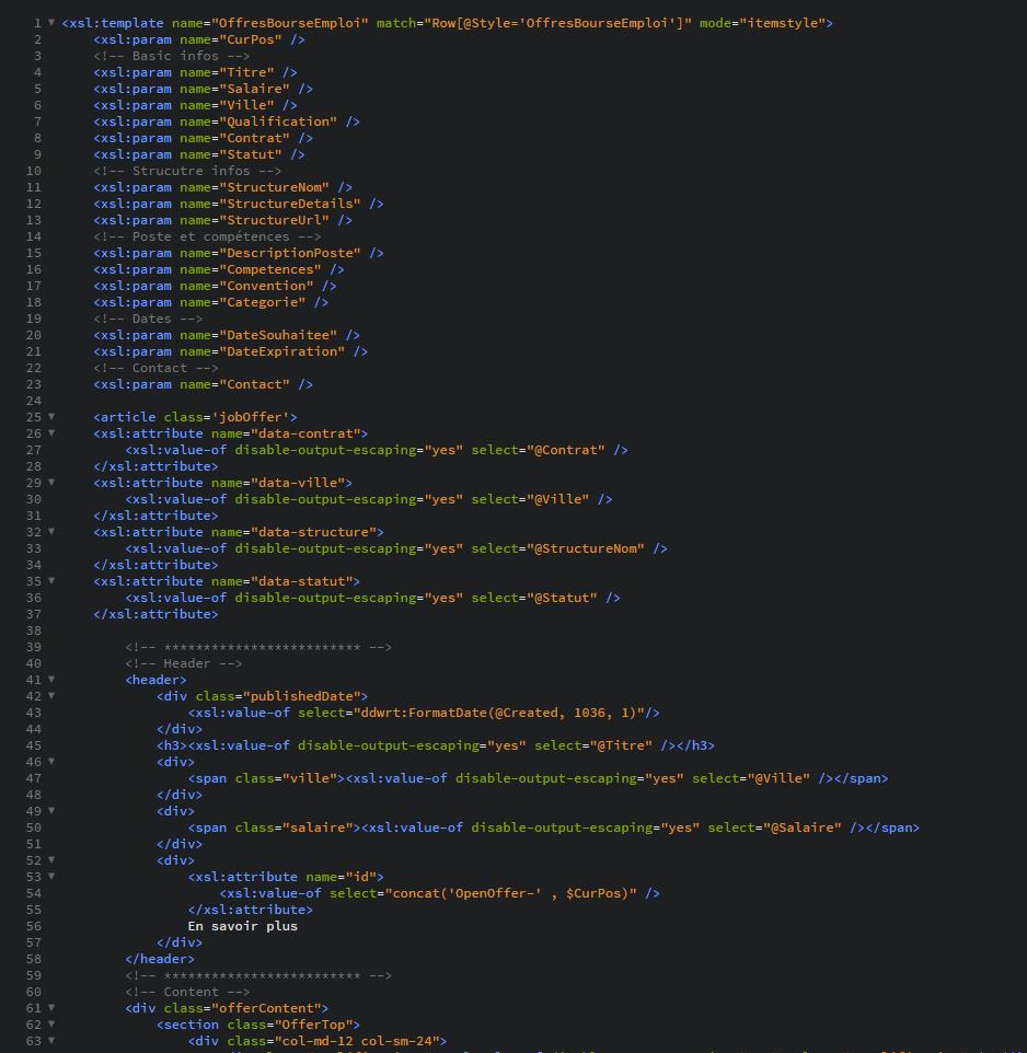 liste sharepoint exemple template item parametres xsl