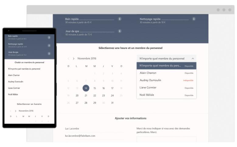planning en ligne booking version mobile