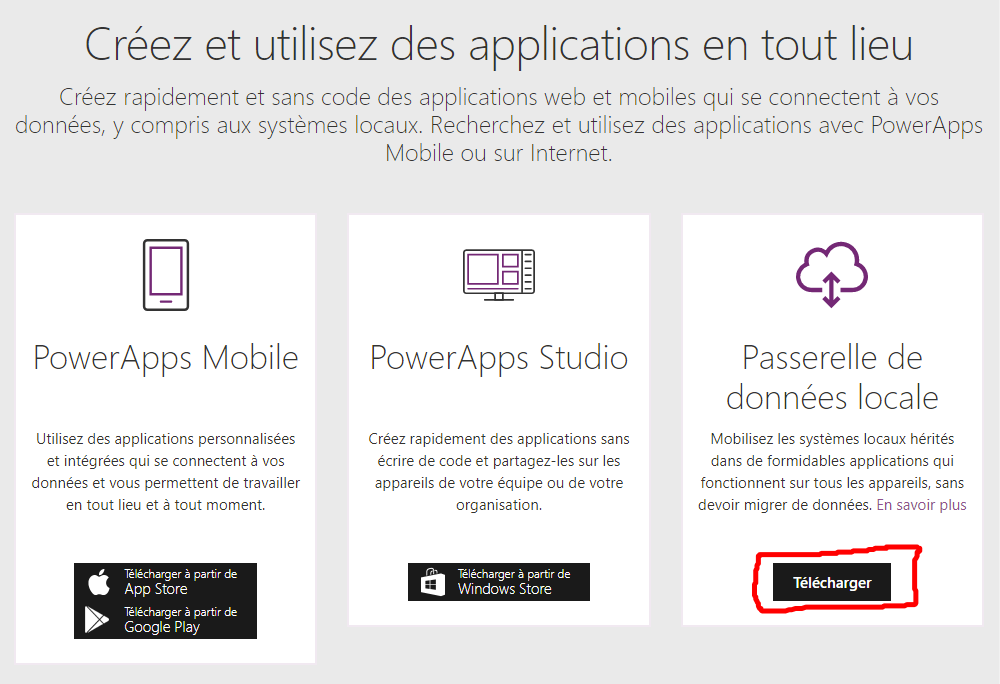 plateforme sharepoint application passerelle donnees locales