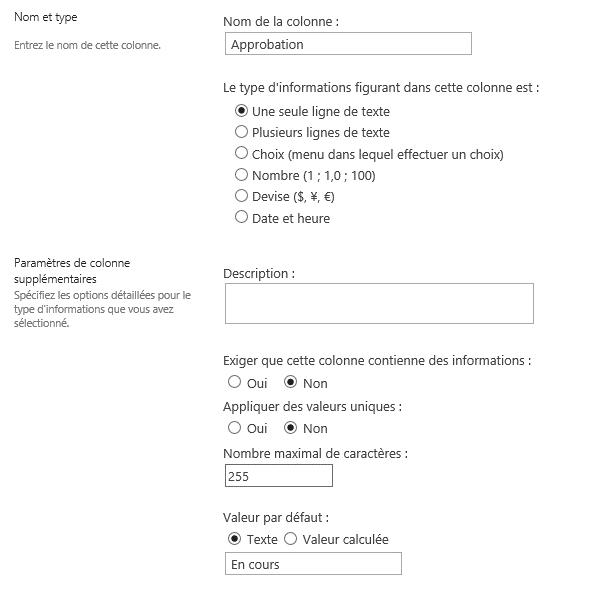 plateforme sharepoint liste colonne type texte