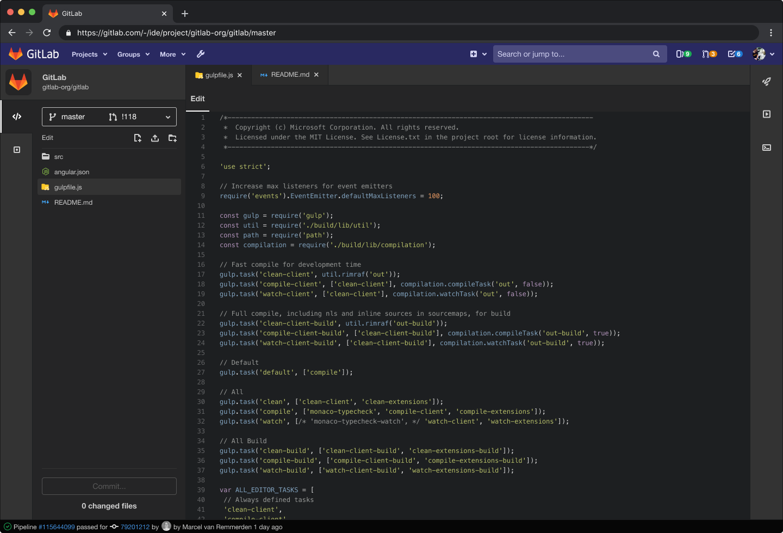 Dark theme web IDE gitlab