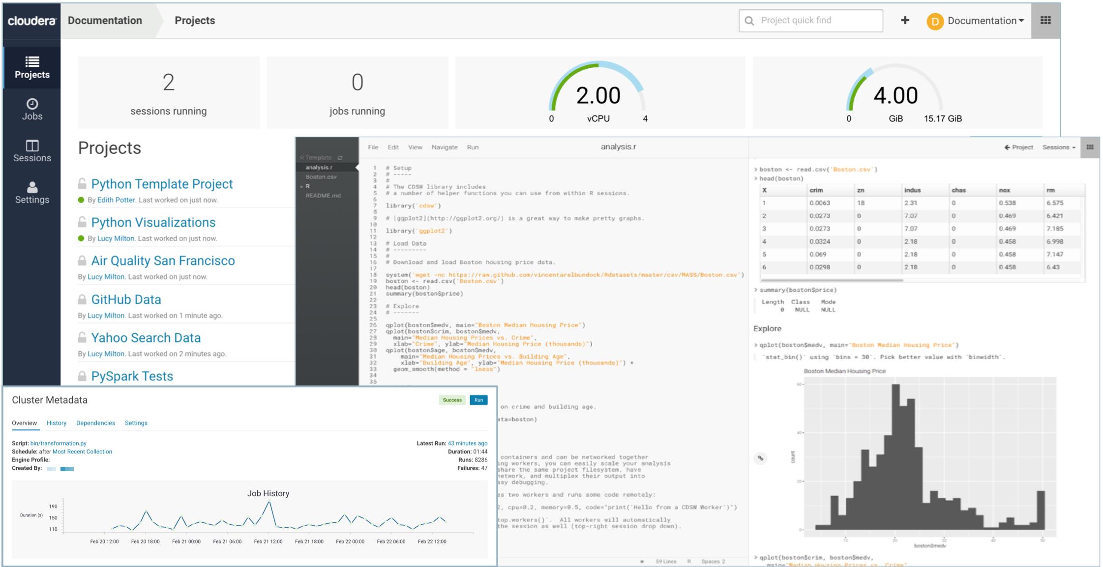 Interface web de l'offre Cloudera Data Plateform CML