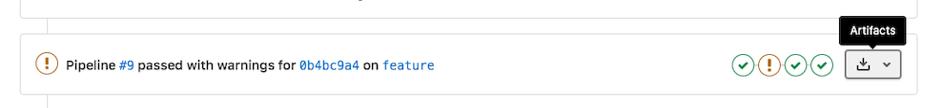 Gitlab, Artifacts depuis le widget merge request