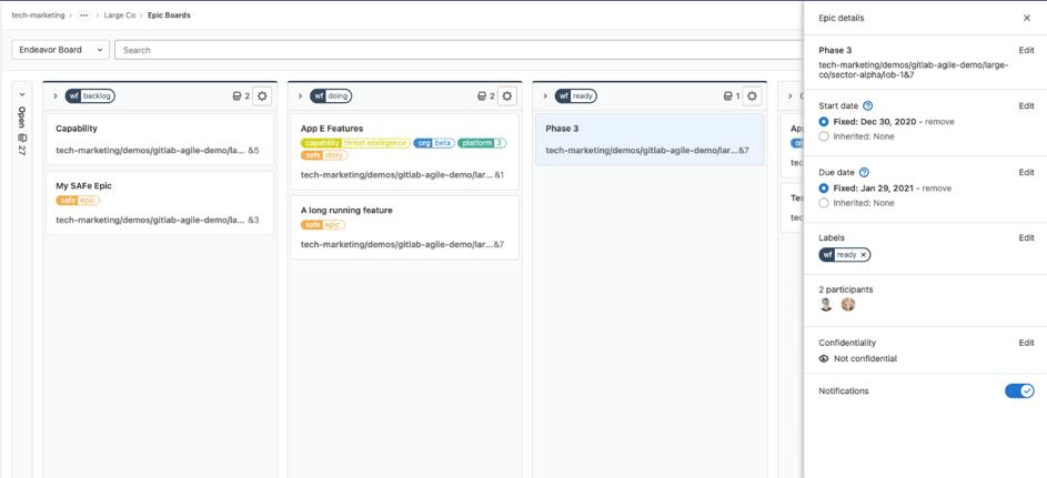 GitLab version 14.0 Epic Boards