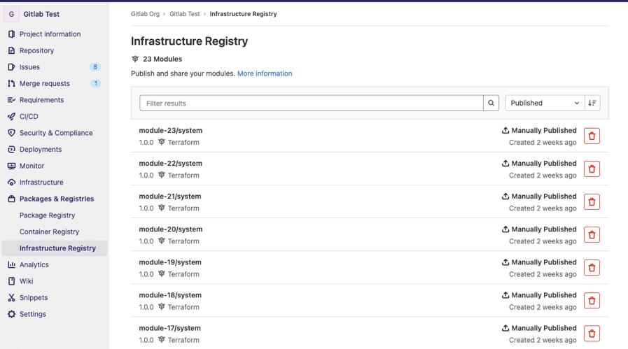 Registry de modules Terraform intégrés à GitLab
